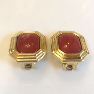 Vintage Dior Rusty Red Gold Clip on Earrings   J1
